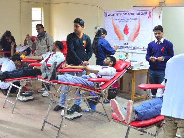 Blood donation camp at Institute for Excellence in Higher Education in Bhopal.