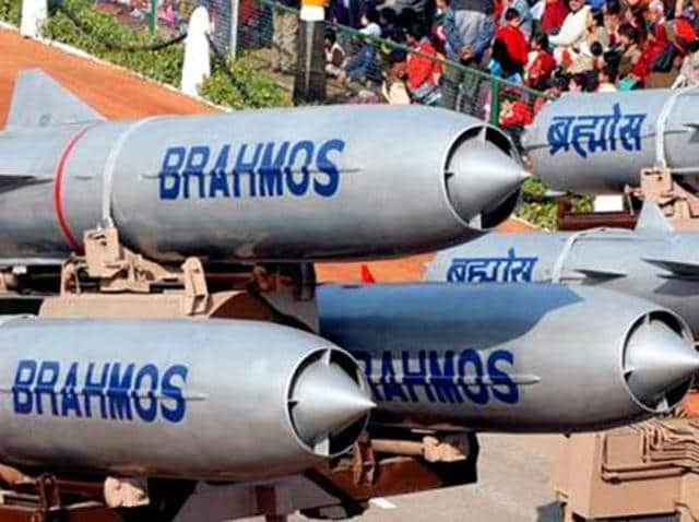 BrahMos missiles are on display during the Republic Day parade in Delhi.