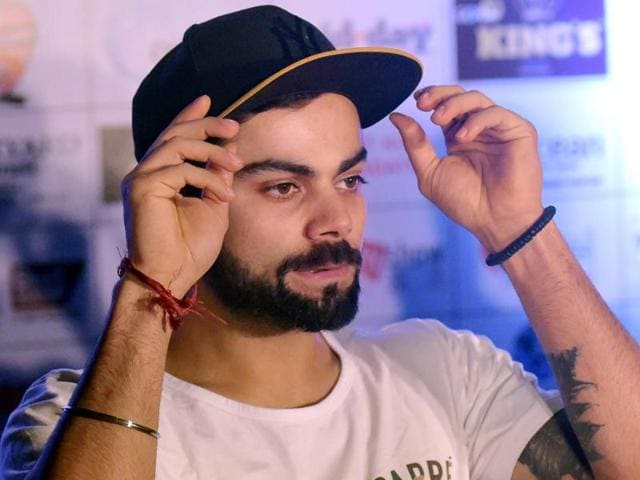Cricketer Virat Kohli during a press conference of Celebrity Clasico 2016 football match.