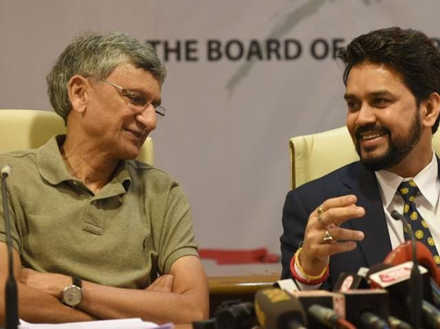 BCCI president Anurag Thakur (right)speaks with BCCI secretary Ajay Shirke during a press conference in Mumbai.