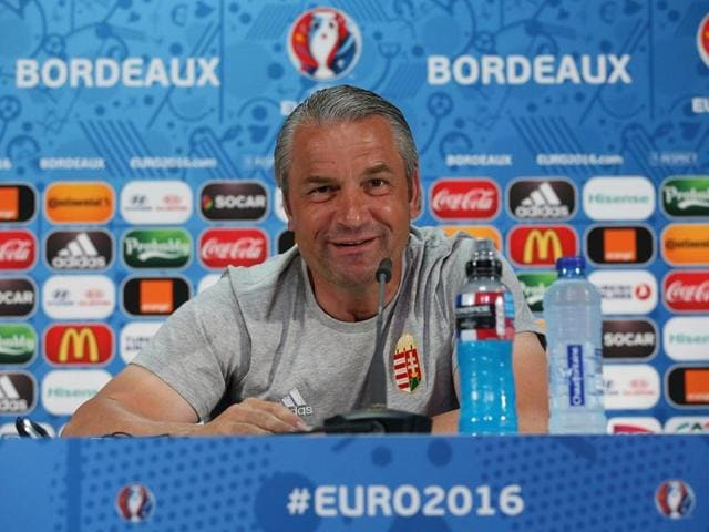 This UEFA handout image taken and released on June 13, 2016 in Bordeaux, Hungarian's head coach Bernd Storck during the press conference at the Matmut Atlantique Stadium.