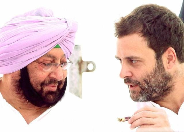 Congress Vice President Rahul Gandhi with Capt Amarinder Singh during a Congress protest against drugs, deteriorating law and order situation in Punjab,in front of Deputy Commissioner Office in Jalandhar on Monday.