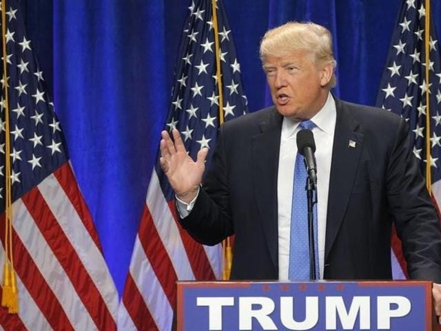 Republican US  presidential candidate Donald Trump speaks at a rally in Pittsburgh.
