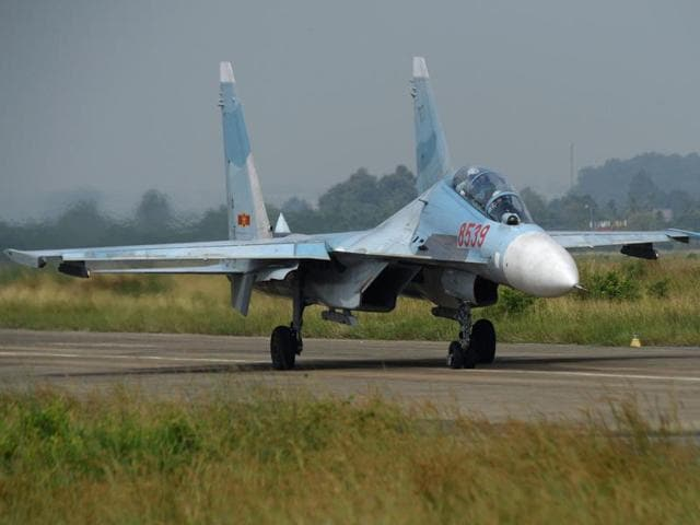 This photograph taken on October 21, 2015 shows a Vietnam Air Force Sukhoi Su-30MK2 multirole fighter aircraft, similar to the jet fighter that disappeared off the Vietnamese coast on June 14, 2016.