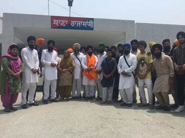 Bhai Baldev Singh outside the police station after being released on Wednesday.