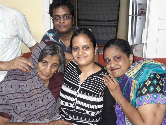 Tricity topper Aarushi (centre) with her family.