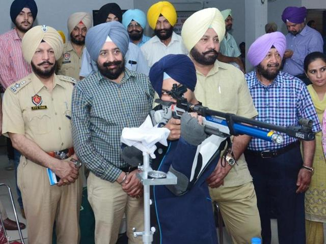 Police officials during the inaguration of the shooting range in Sangrur on Tuesday.