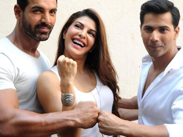 John Abraham, Jacqueline Fernandez and Varun Dhawan at a promotional event for their movie 'Dishoom'.