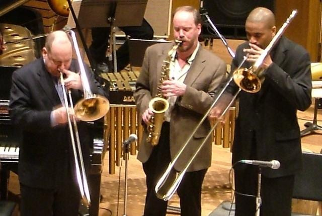 Greg Banaszak (centre) performing with the Vienna Chamber Orchestra in Austria