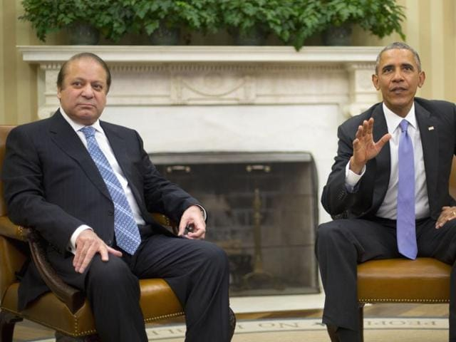 President Barack Obama with Pakistani Prime Minister Nawaz Sharif in the Oval Office of the White House in Washington.