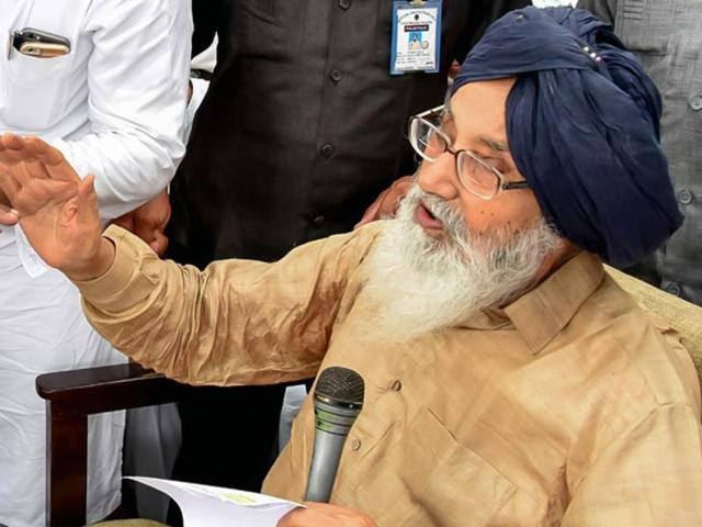 Chief minister Parkash Singh Badal listening to problems of people during Sangat Darshan in Malout on Wednesday.
