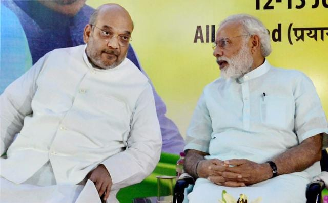Prime Minister Narendra Modi and BJP's national president Amit Shah during the party's national executive meet in Allahabad on Sunday.
