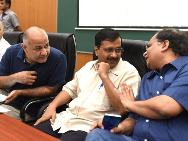 Delhi chief minister Arvind Kejriwal and deputy chief minister Manish Sisodia as they attend the 3rd Session of 6th Legislative Assembly of National Capital on March 22, 2016. The AAP government is embroiled in a row with the Centre over Presidential assent to the office-of-profit bill.