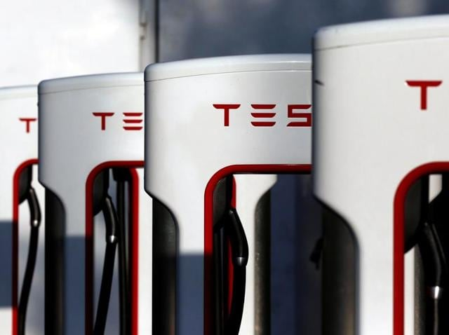 A Tesla Supercharger station is shown in Cabazon, California.