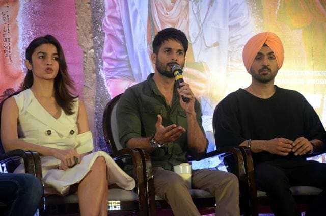 Actors Shahid Kapoor, Alia Bhatt and Diljit Dosanjh during a press conference in Mumbai on June 14, 2016.