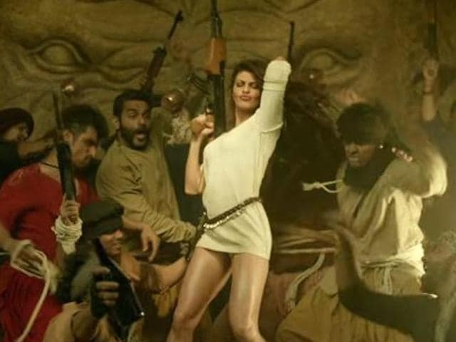 Jacqueline Fernandez in a still from a song in Dishoom.