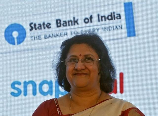 State Bank of India (SBI) chairperson Arundhati Bhattacharya smiles during a product launch in Mumbai.