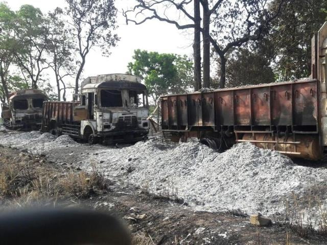 The trucks torched by Naxalites in district Balaghat.