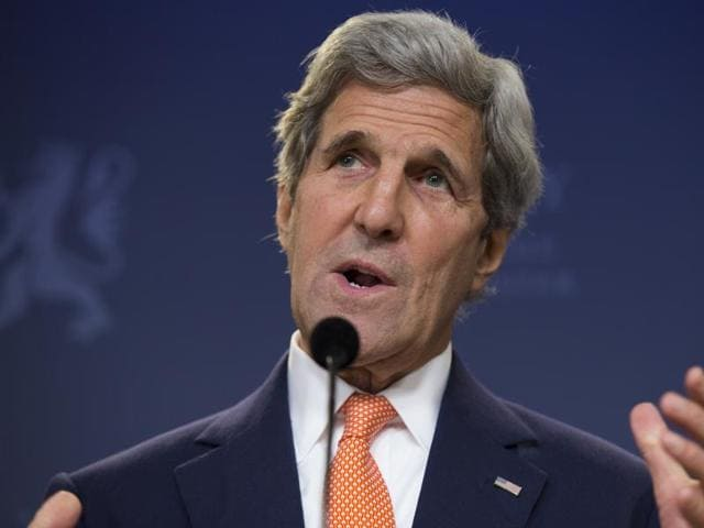 US secretary of state John Kerry speaks during a news conference with Norwegian Prime Minister Erna Solberg in Oslo.