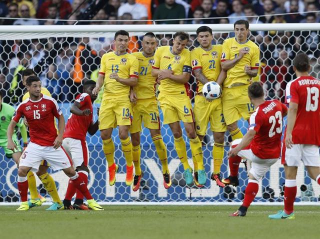 Switzerland's Xherdan Shaqiri takes a freekick during their Euro 2016 match against Romania on Wednesday.