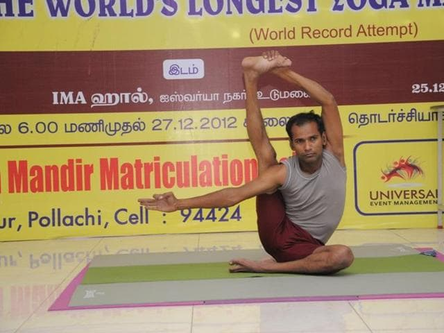 Aiming entry into the Guinness Book of World Records, a yoga teacher is set to perform yoga continuously for 69 hours, concluding it on the International Yoga Day on June 21