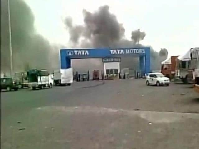 Tata Motors on Thursday said a fire broke out at a unit of one of its vendor partners in the company's Sanand manufacturing facility that rolls out Nano and the recently introduced hatchback Tiago models.