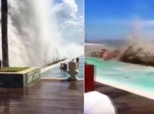 High tidal waves hit Southern Bali last week sending holidayers into a frenzy. People were seen running away in fear as the waves hit the pool area of a restaurant. Two tourists have reportedly died after being dragged into the rough sea.