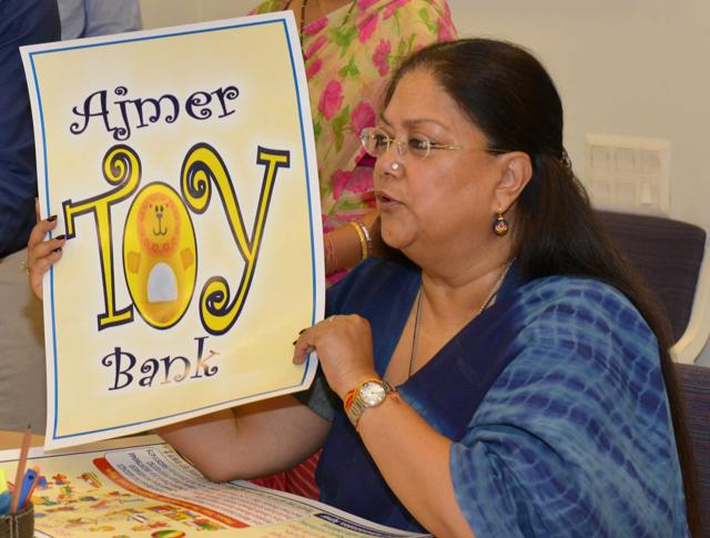 CM Vasundhara Raje launches Ajmer's toy bank through video conferencing from Jaipur on Thursday.