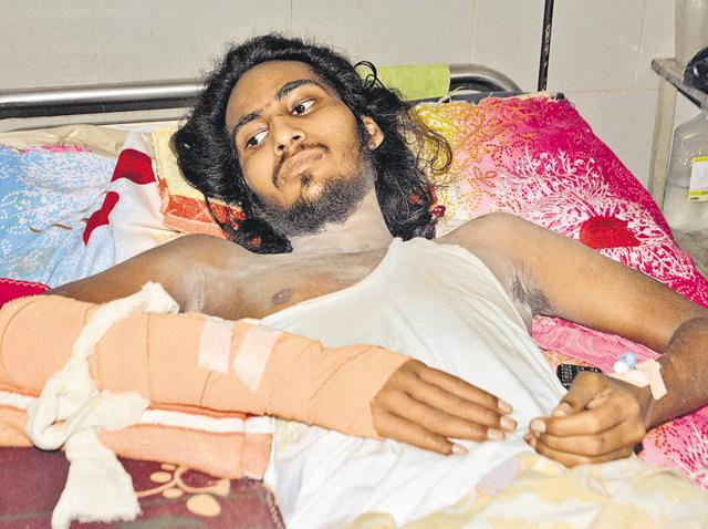 Victim Gurpartap Singh undergoing treatment at Guru Nanak Dev Hospital in Amritsar.