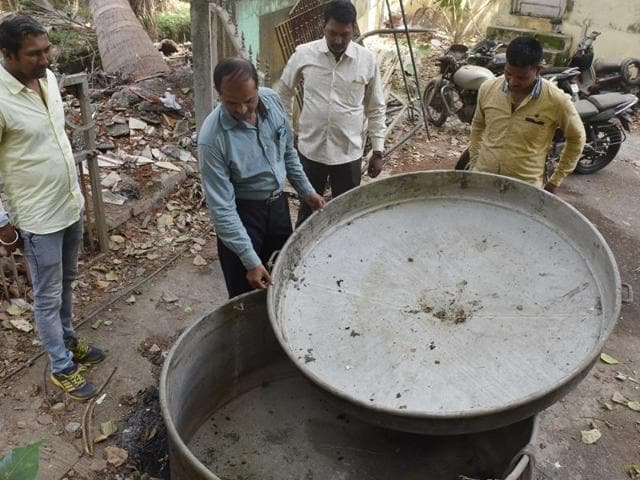A utensil used to brew hooch recovered in the recent raid at Malwani.