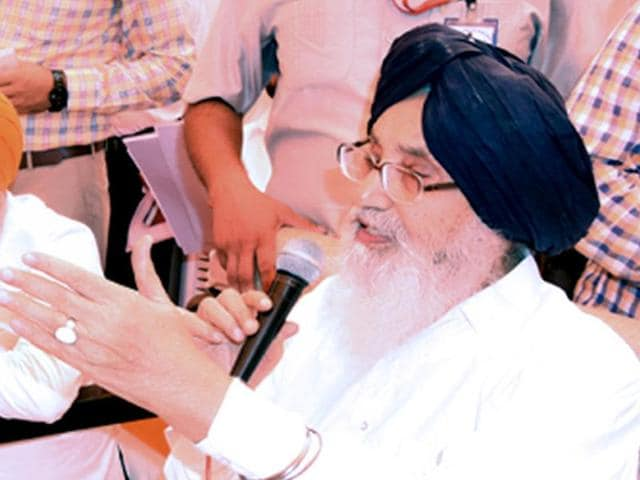 CM Parkash Singh Badal at a 'sangat darshan' programme at Malout in Muktsar district on Thursday.