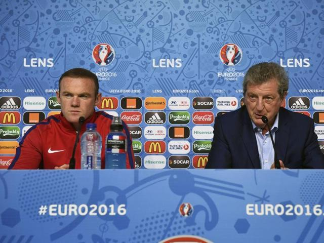 England's manager Roy Hodgson and Wayne Rooney attend a pre-game press conference ahead of their match against Wales.