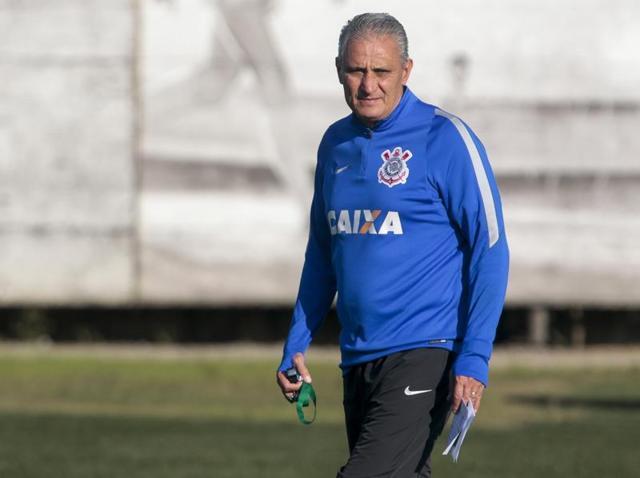 Corinthians coach Adenor Leonardo Bacchi, known as Tite, participates in a training session at the team headquarters in Sao Paulo, Brazil.