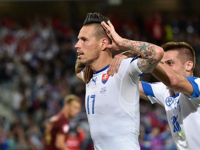 Slovakia's midfielder Marek Hamsik celebrates his goal during the Euro 2016 group B football match between Russia and Slovakia at the Pierre-Mauroy stadium in Villeneuve-d'Ascq, near Lille.