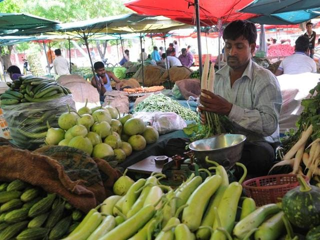 A vegetable vendor in Chandigarh.