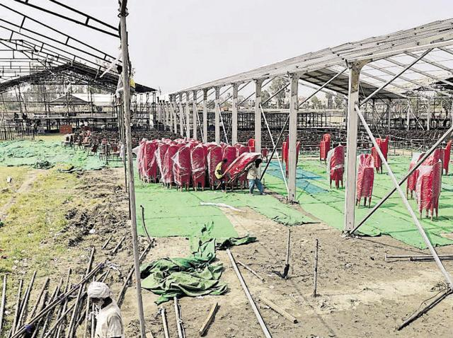 Preparations underway at the IIM site in Amritsar on Wednesday.