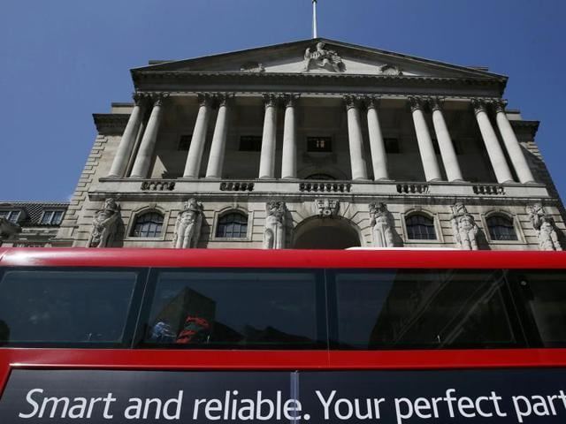 A bus in front of the Bank of England in London, Britain.