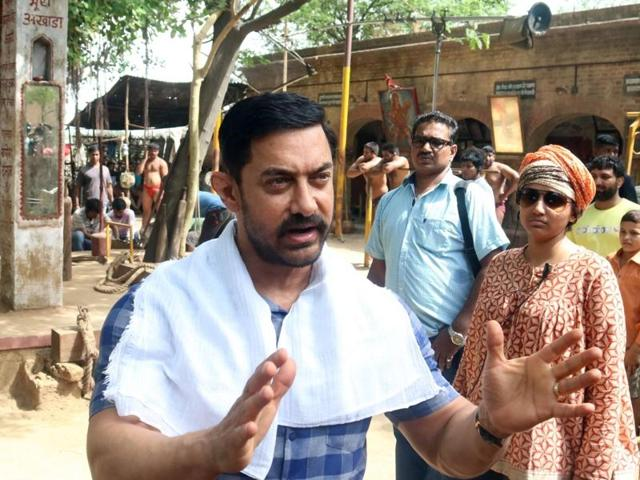 Aamir Khan on the sets of his upcoming film Dangal in Ludhiana, on June 16, 2016.