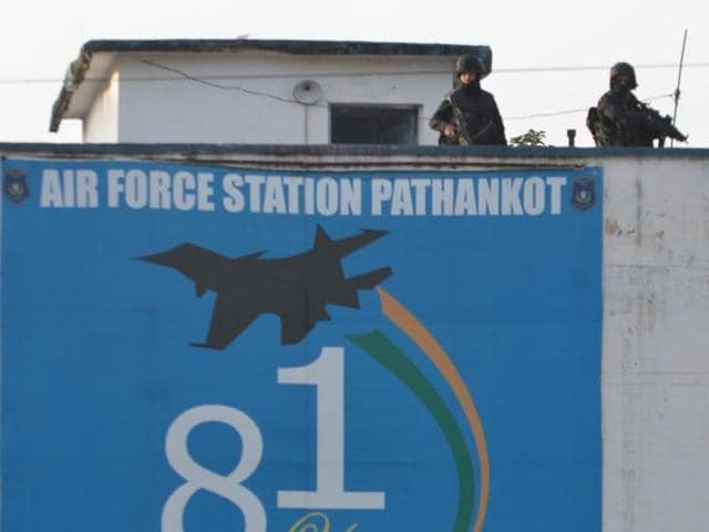An Indian soldier stands guard inside the Pathankot airbase, which was attacked by members of the Pakistan-based Jaish-e-Mohammed in January.