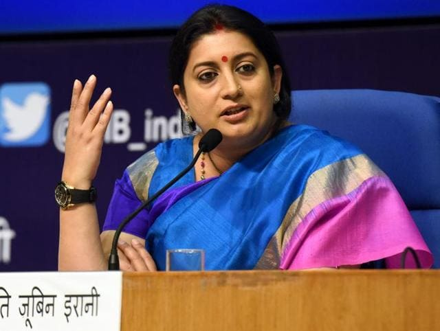 Union HRD minister Smriti Irani has posted an open letter on Facebook saying she will not accept trolls and will continue to do her job after a Twitter spat with Bihar education minister Ashok Choudhary blew out of proportion.. ( Photo by Sonu Mehta/ Hindustan Times )
