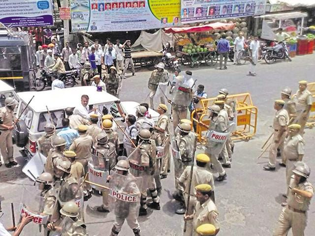 Tension grips Balotra town in Barmer district after the  arrest of former Congress MLA Madan Prajapat.