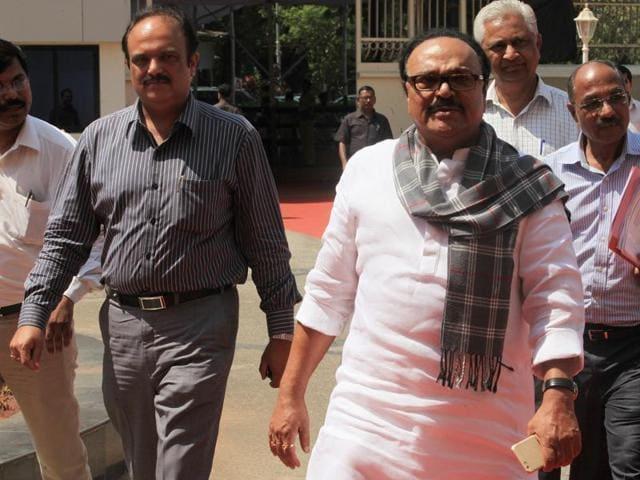 Former PWD minister Chhagan Bhujbal (right) and Pankaj Bhujbal at Vidhan Bhavan in Mumbai.