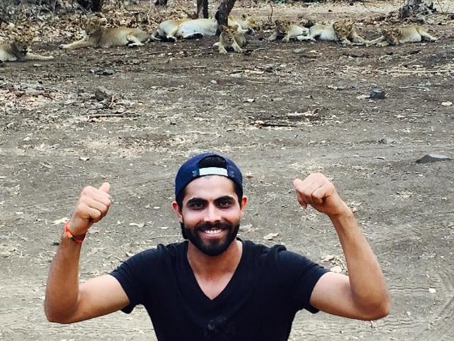 Ravindra Jadeja posted several photos on social media of him and his wife posing with endangered Asiatic lions.