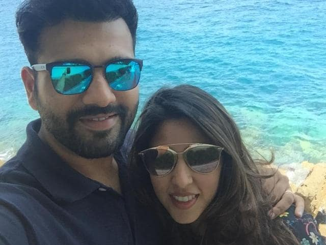 Rohit Sharma with his wife Ritika Sajdeh during their honeymoon.