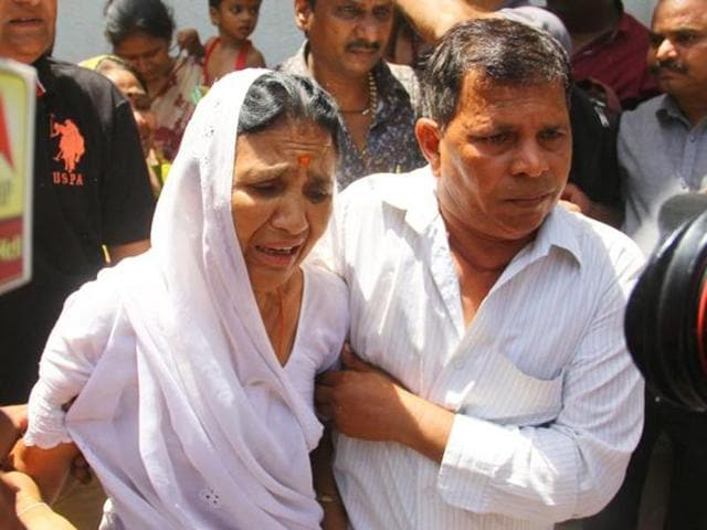 Relatives of the convicts in the Gulberg Society massacre case react after a special SIT court adjourned the hearing on the quantum of sentence till June 9. (Siddharaj Solanki / HTFile Photo)