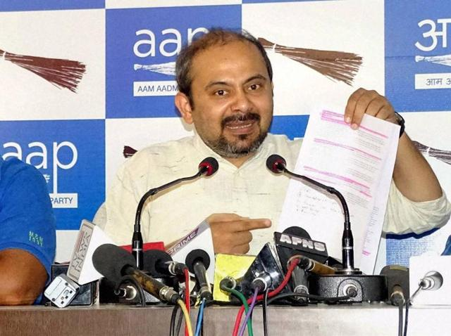 AAP leader Dilip Pandey at a press conference in New Delhi on Wednesday.