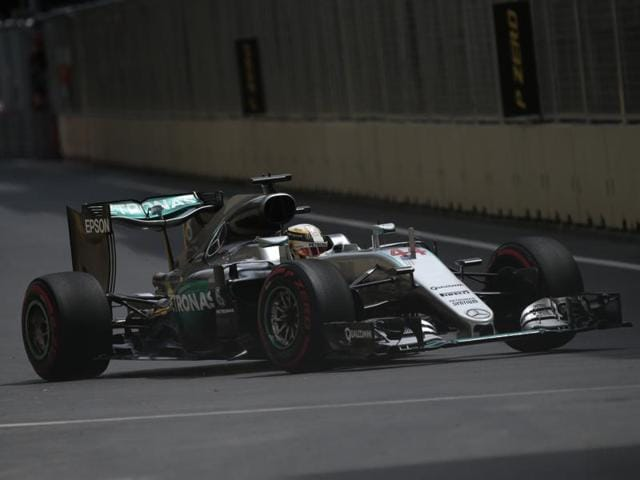 Hamilton outpaced teammate Rosberg by four-tenths of a second on the new Baku street circuit.