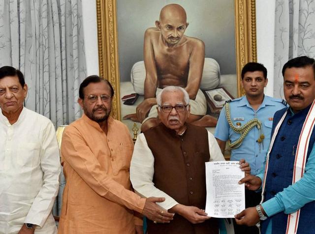 BJP delegation presents a memorandum to Uttar Pradesh governor Ram Naik over Kairana issue  in Lucknow on June 17, 2016.