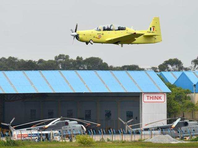 A HTT-40 aircraft developed by Hindustan Aeronautics Limited takes part in a test flight in Bangalore on Friday.