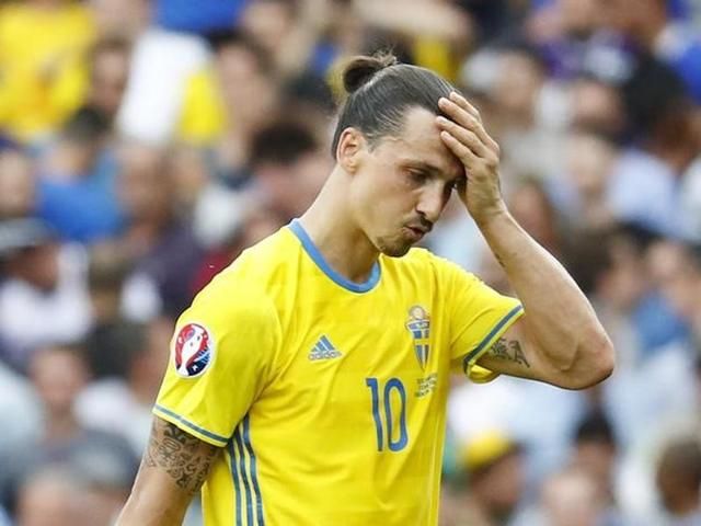 Sweden's Zlatan Ibrahimovic looks dejected after the match against Italy at the Stadium de Toulouse in France.
